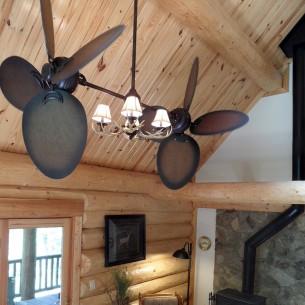Rustic Twin Star III Ceiling Fan w/ Antler Lighting