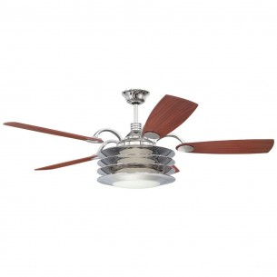 Rousseau Ceiling Fan - Chrome w/ Cherry Blades