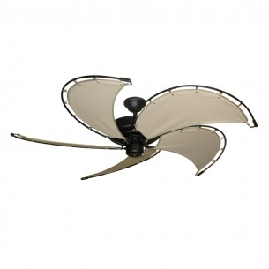 Nautical Raindance Ceiling Fan - Matte Black - Khaki Blades