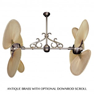 Twin Star II Dual Head Tropical Palm Ceiling Fan - Antique Brass (scroll optional)
