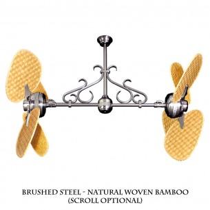 Gulf-Coast Twin Star II - Brushed Steel w/ Natural Blades (scroll optional)
