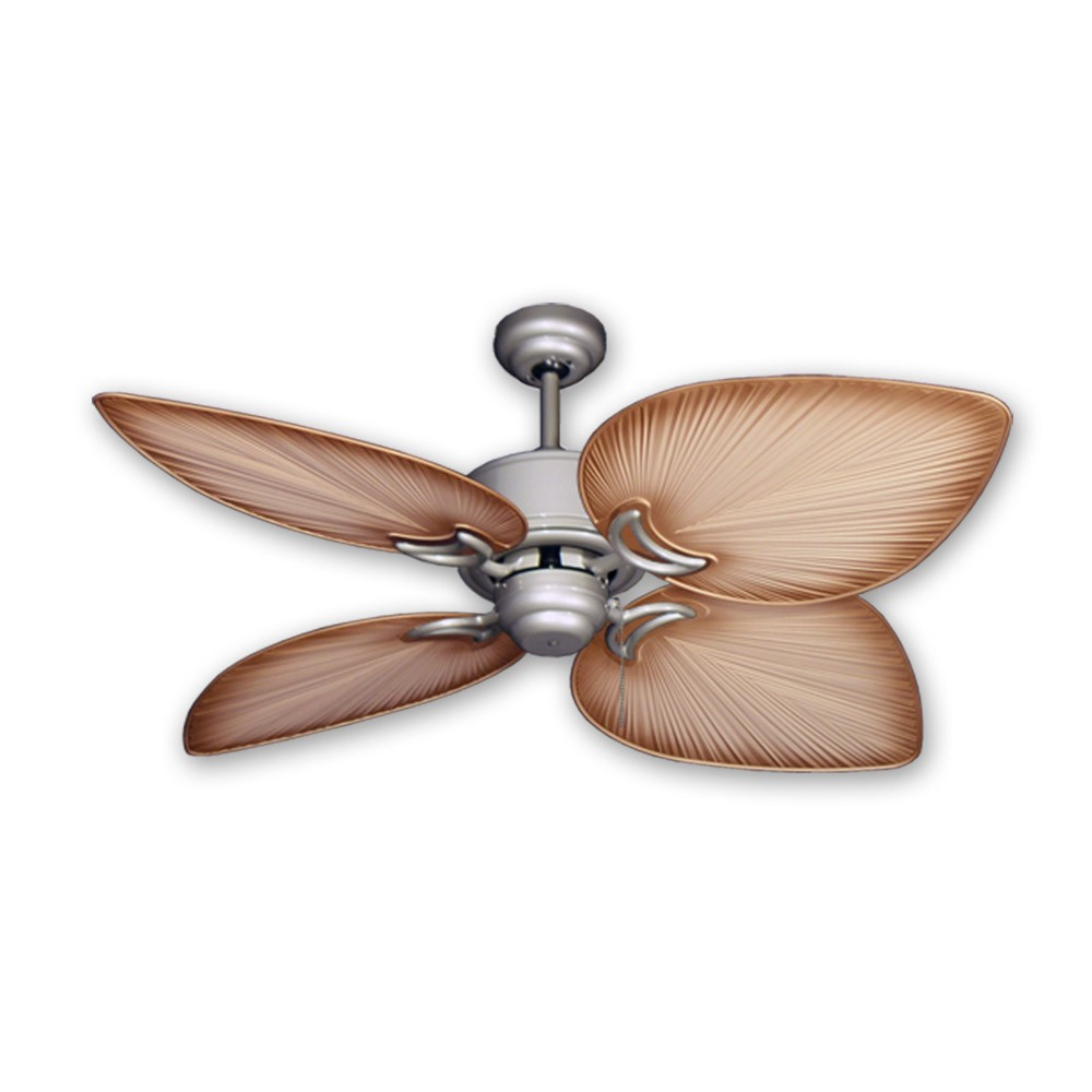 Outdoor Tropical Ceiling Fan Brushed Nickel Bombay By