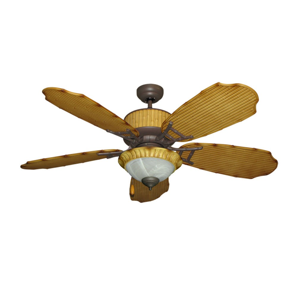 Bamboo ceiling fan with light damp location outdoor use gulf coast cabana breeze - Outdoor ceiling fan ...