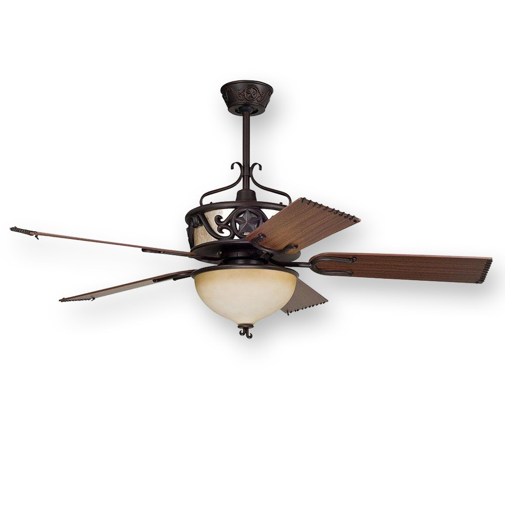 "... Ellington LS52ABZ5CRGD, 52"" Lone Star Ceiling Fan, Rustic w/ Uplight"