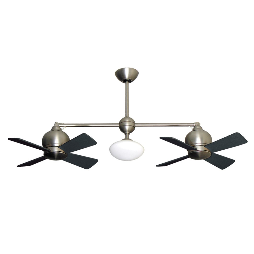 Metropolitan Dual Motor Ceiling Fan Modern Styling With Halogen Light Satin Steel