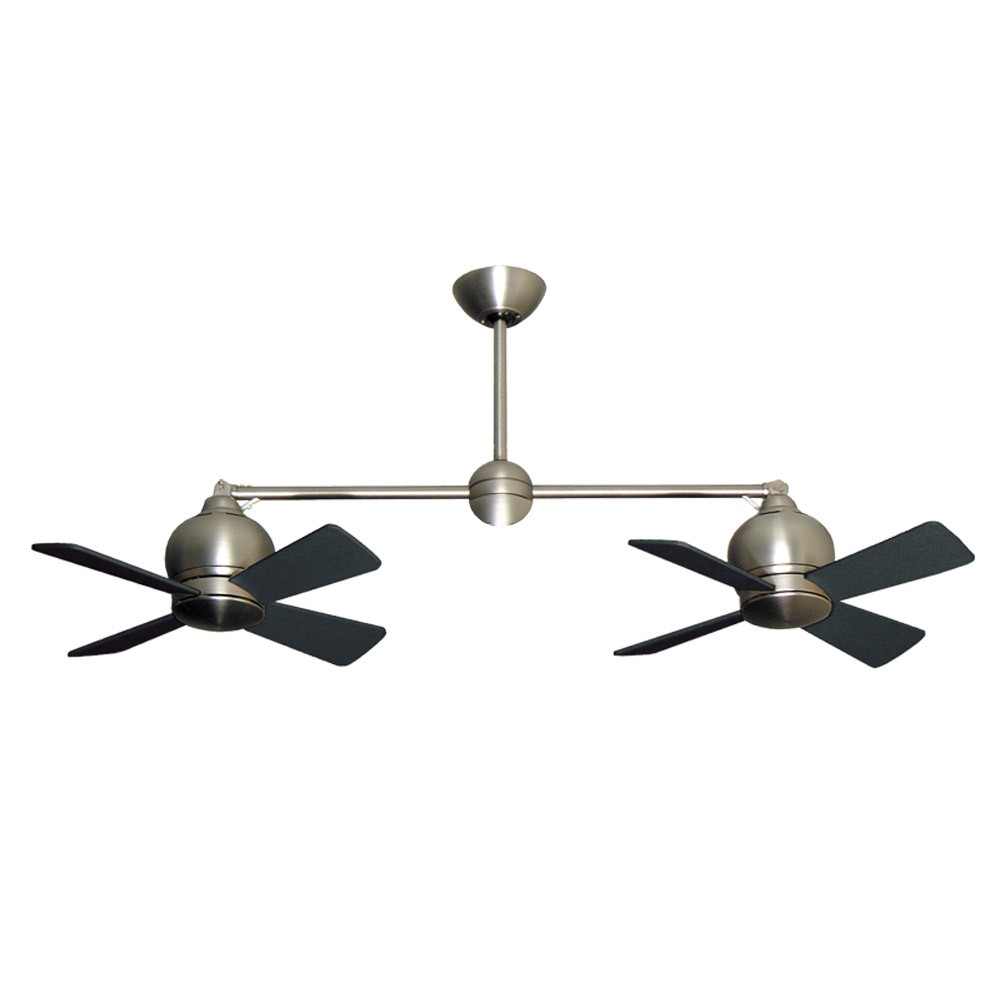 Metropolitan ceiling fan by gulf coast dual tiltable motors satin