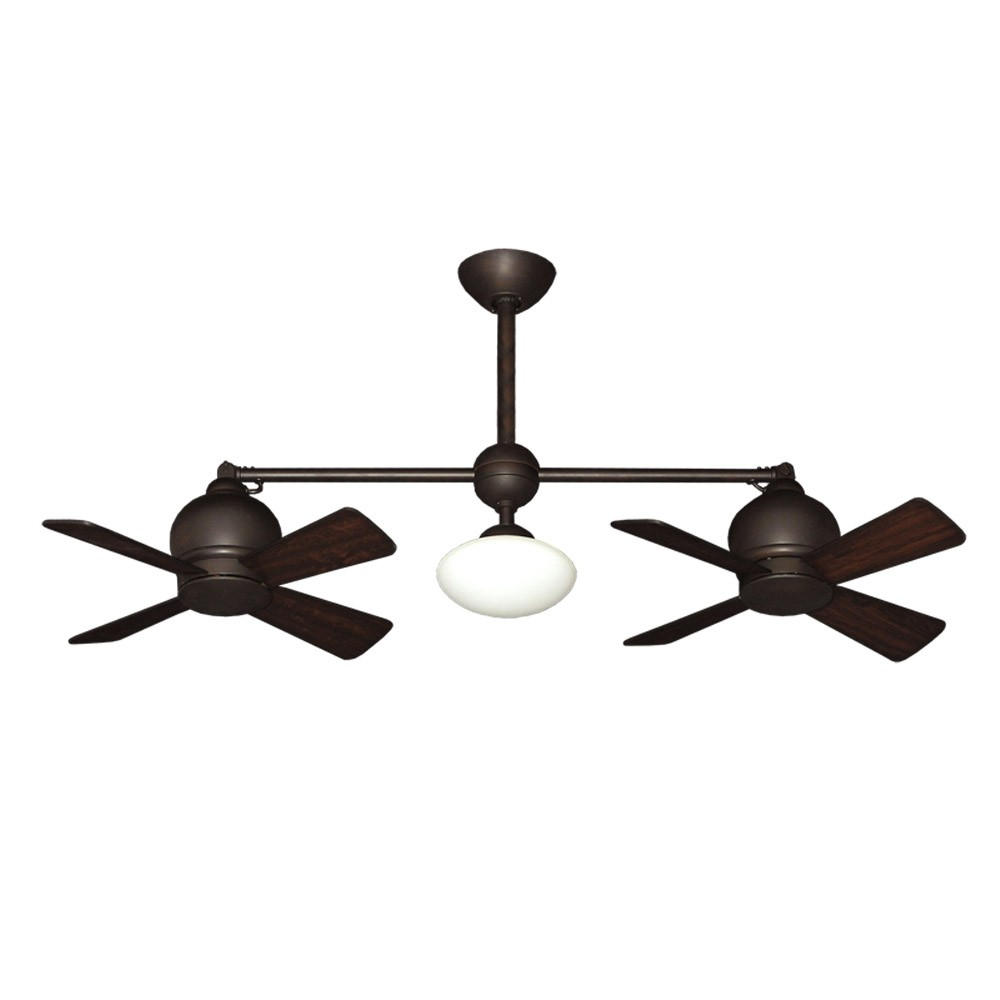 Dual Motor Ceiling Fan - Modern Styling With Halogen Light - Weathered ...