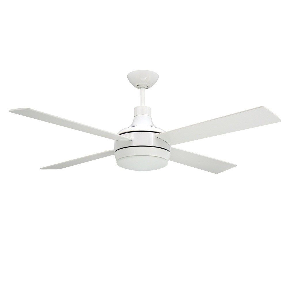 Quantum Ceiling by TroposAir Fans- Pure White Finish With Optional Light Included
