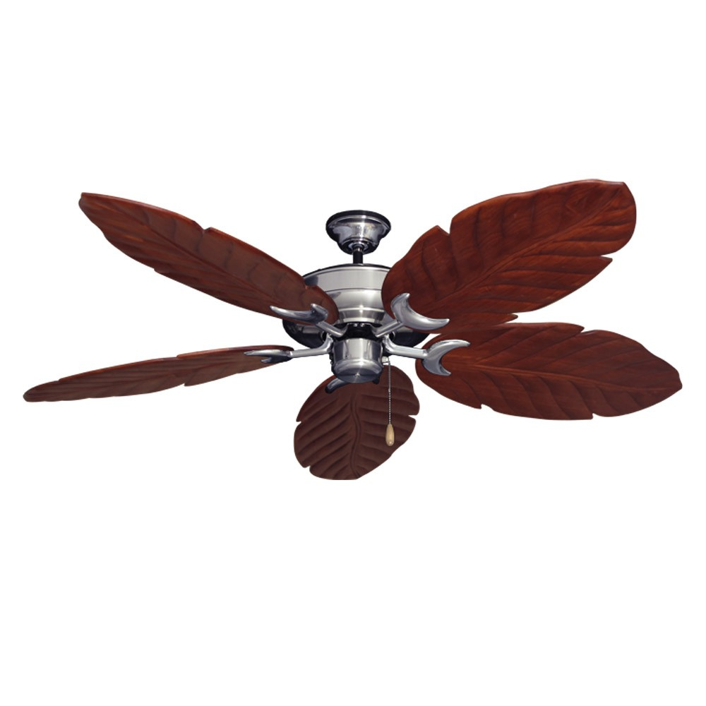 Brushed Steel Raindance 125 Series Ceiling Fan Real Wood