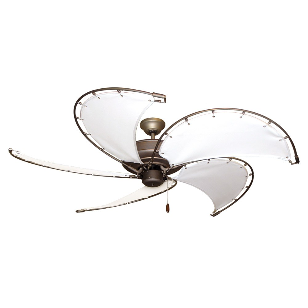 "52"" Raindance Nautical Ceiling Fan Ant. Bronze, Sail Blades 4 Finishes"