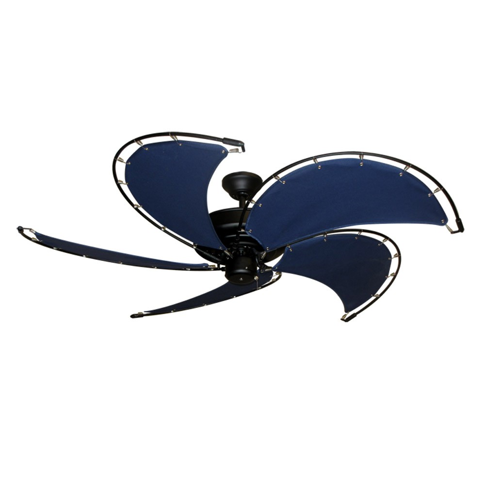 "Home > 52"" Raindance Nautical Ceiling Fan Matte Black, Sail Blades In ..."