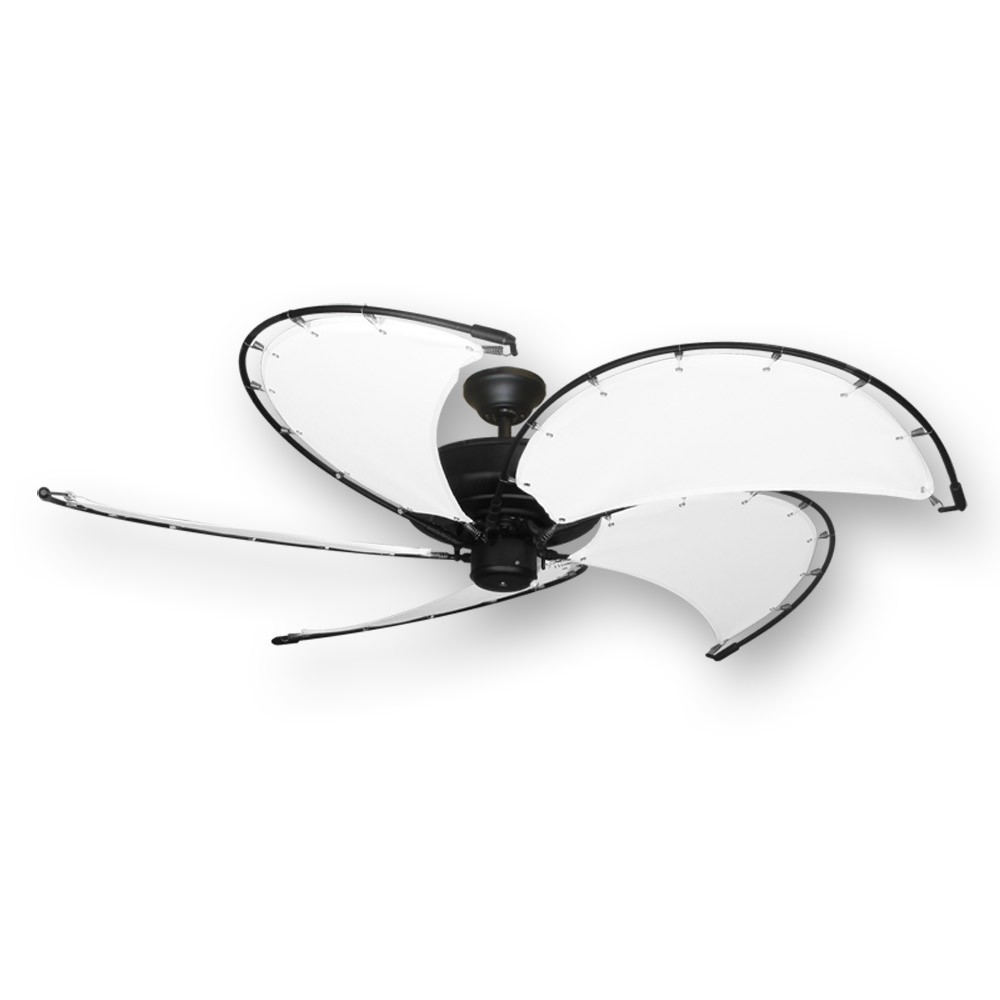 "52"" Raindance Nautical Ceiling Fan Matte Black, Sail Blades In 4 ..."