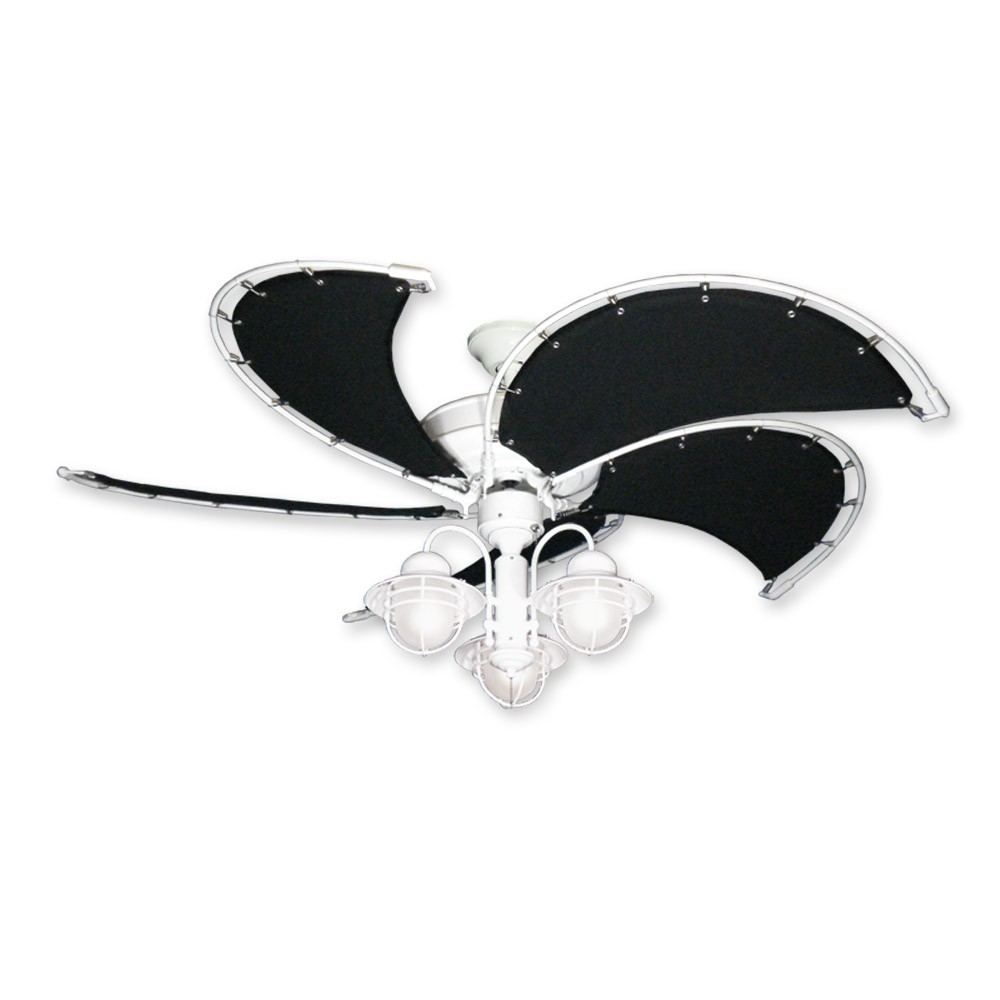 Raindance Nautical Ceiling Fan w/ Light - White w/ Black Blades