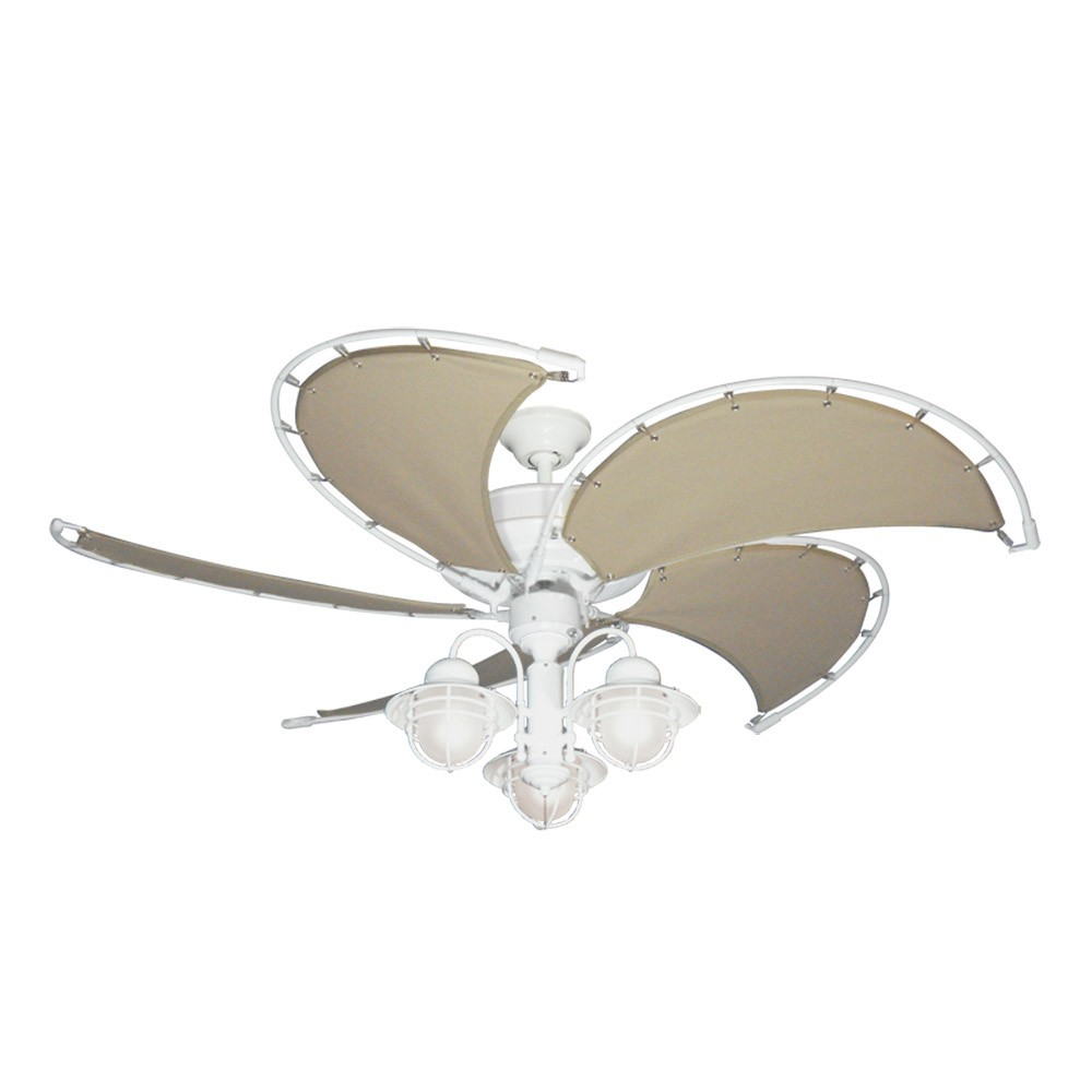 Raindance Nautical Ceiling Fan w/ Light - White w/ Khaki Blades