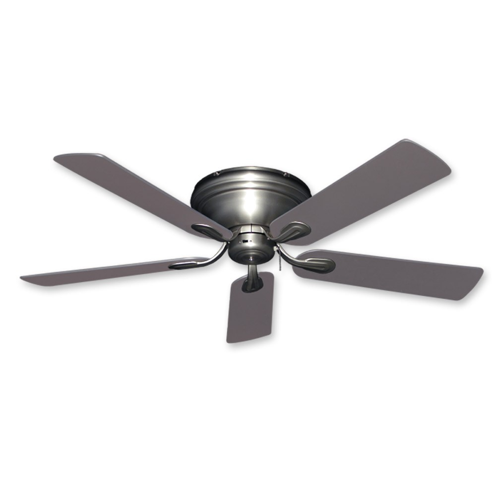 Flush Mount Ceiling Fan 52 Inch Stratus In Satin Steel