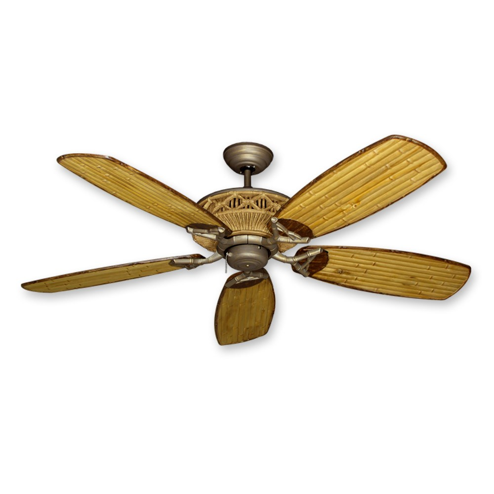 52 Tiki Bamboo Ceiling Fan Real Blades With