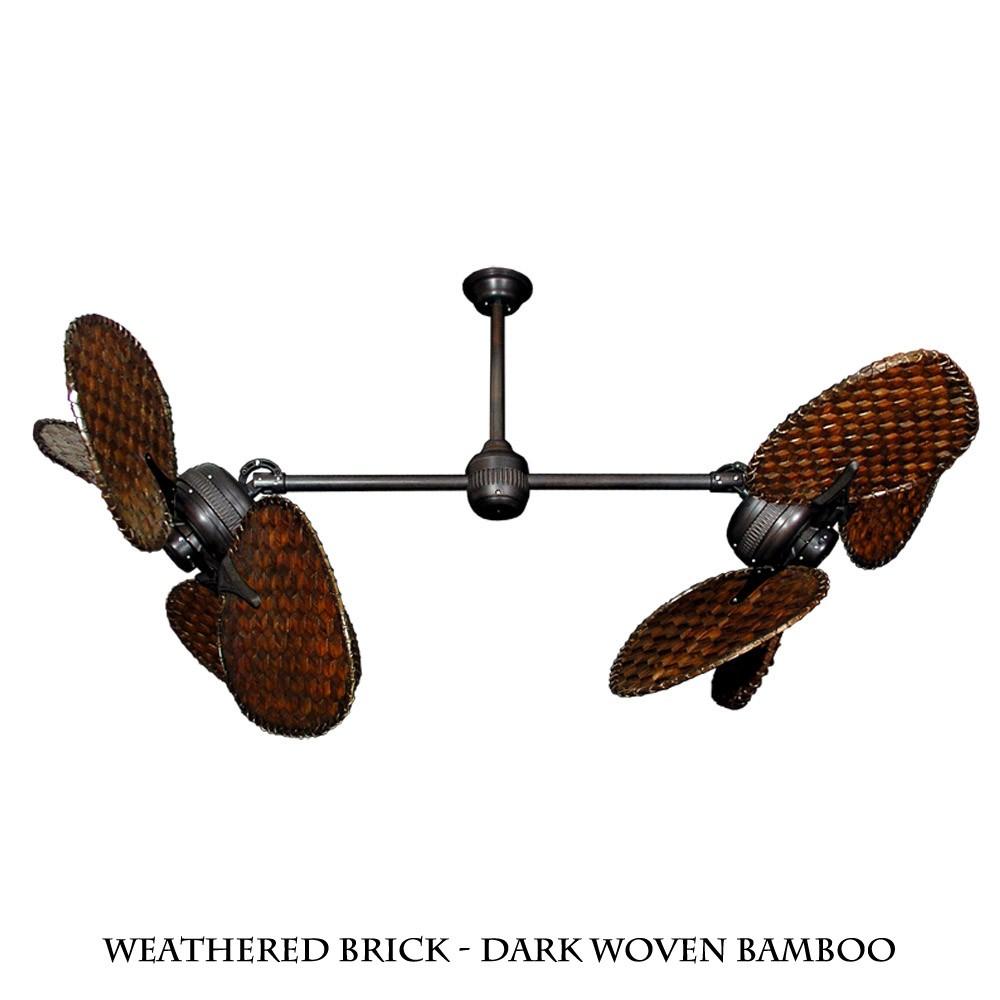 Twin star ii dual motor ceiling fan with woven bamboo for Dual motor ceiling fan