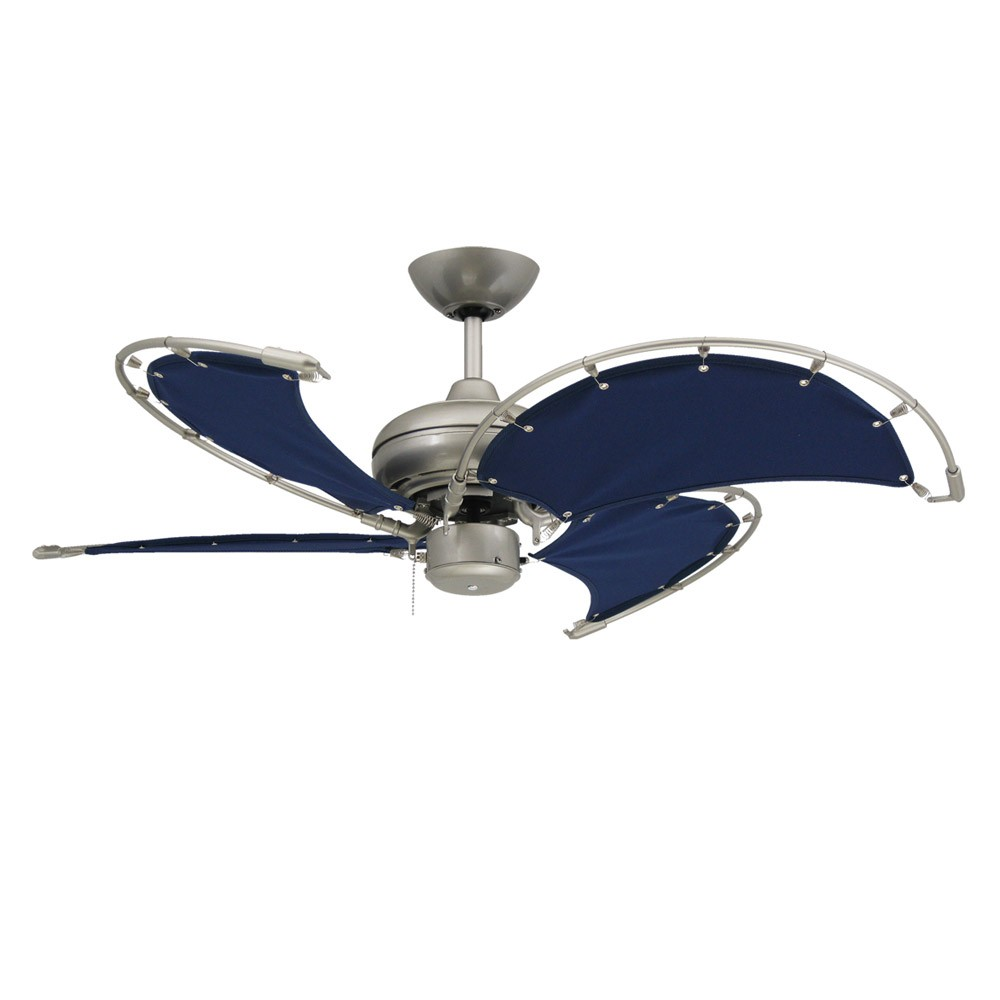 Voyage Nautical Ceiling Fan - Brushed Nickel With 40 Inch Sail Cloth ...