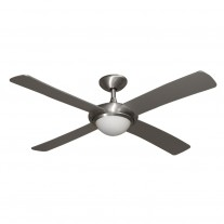 "52"" Gulf-Coast Luna Ceiling Fan - Brushed Aluminum Damp Rated Outdoor Contemporary Fan"