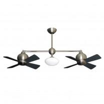 Metropolitan Ceiling Fan by Gulf Coast - Dual Tiltable Motors - Satin Steel Finish