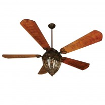 "Craftmade Olivier 70"" Ceiling Fan w/ Light - OV70AG w/ Custom Carved B570C-1 Cherry Blades"