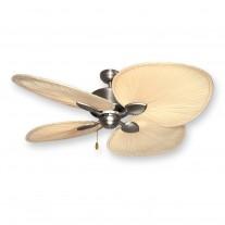 """56"""" Palm Breeze II by Gulf Coast - Satin Steel Tropical Ceiling Fan"""