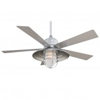 "54"" RainMan Ceiling Fan by Minka Aire - F582-GL Galvanized Finish with Light Kit"