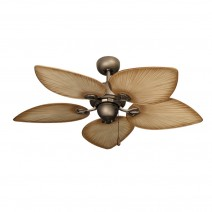 "42"" Bombay Antique Bronze Tropical Ceiling Fan - Tan Blades"