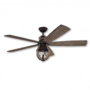 """56"""" Craftmade Winton Ceiling Fan - WIN56ABZWP5 - Aged Bronze/Weathered Pine"""
