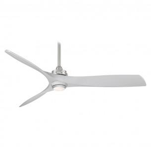 """60"""" Minka Aire Aviation LED - F853L-BN/SL - Silver Blades"""