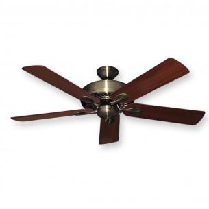 """Antique Brass Meridian Ceiling Fan w/ 52"""" Walnut Blades"""
