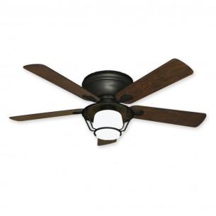"Farmhouse Ceiling Fan / Light Combo - 52"" Low Profile Stratus by Gulf-Coast"
