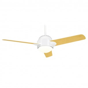 Casablanca TRIH-11 Snow White Trident Ceiling Fan (maple blades shown)