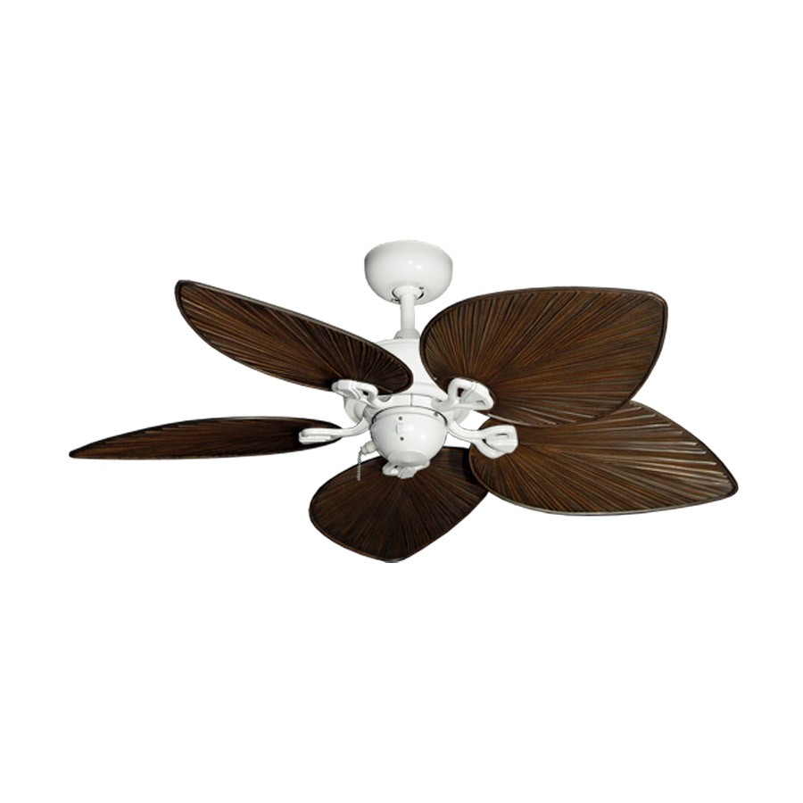 42 Inch Tropical Ceiling Fan Small Pure White Bombay By