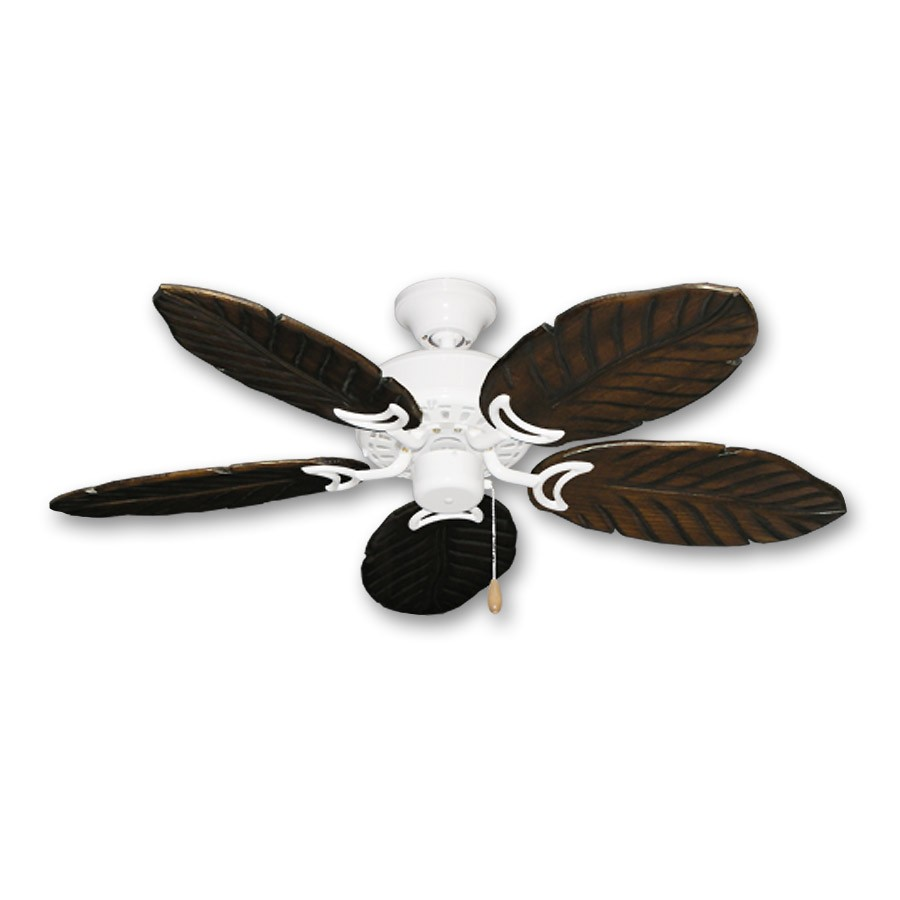 """Ceiling Fan Tropical Blades: 42"""" Outdoor Tropical Ceiling Fan Pure White Finish"""