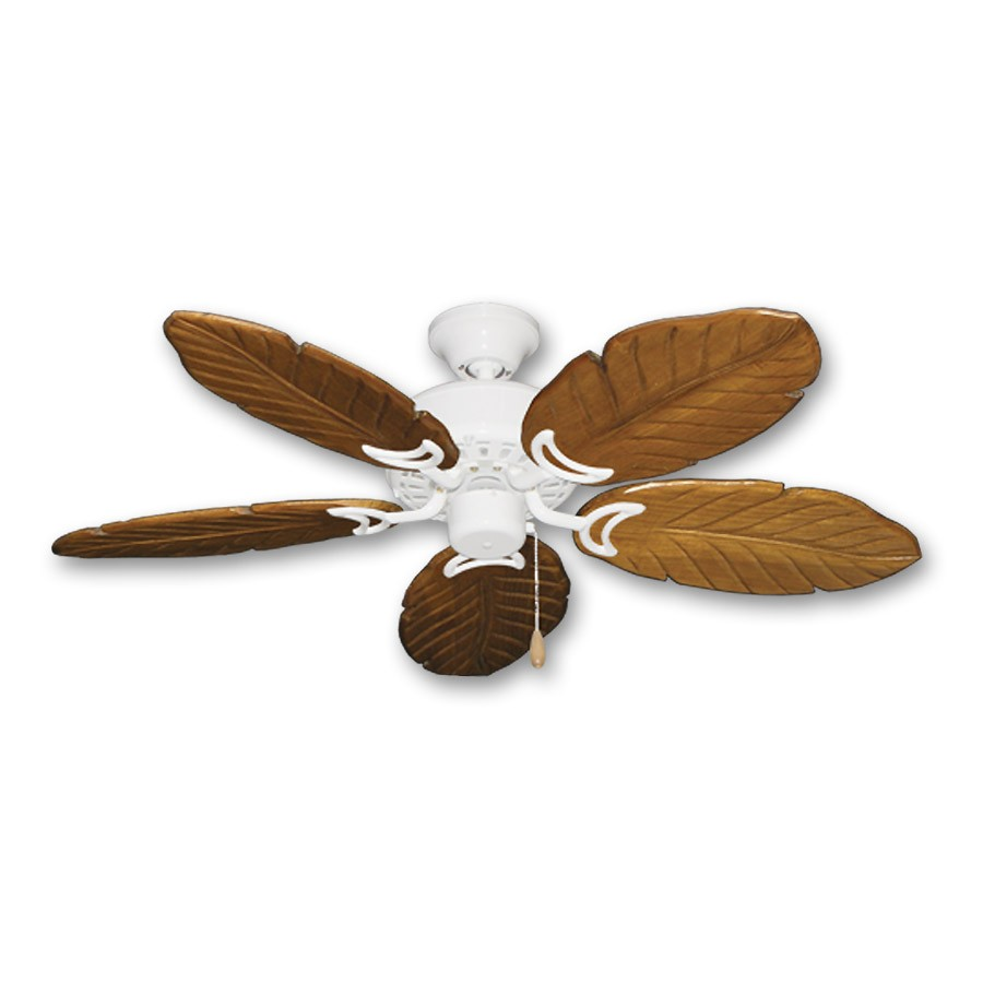 42 Quot Outdoor Tropical Ceiling Fan Pure White Finish Treated Solid Wood Blades