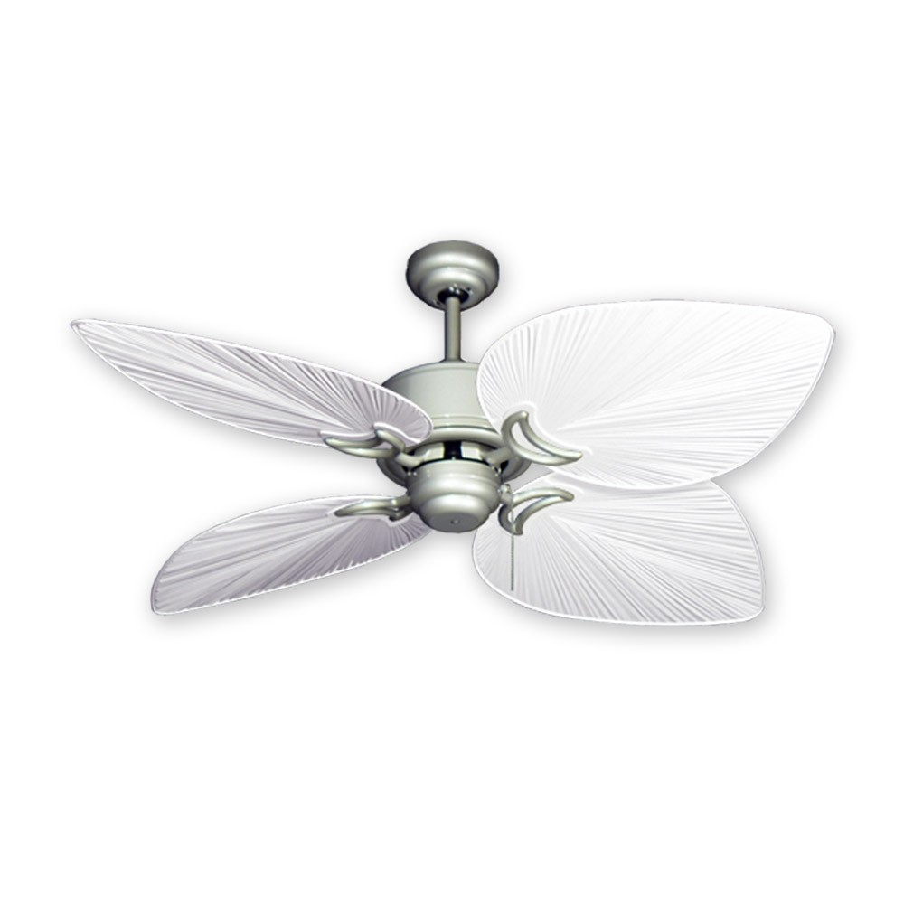 Outdoor tropical ceiling fan brushed nickel bombay by gulf coast fans 50 bombay ceiling fan brushed nickel pure white blades mozeypictures Image collections