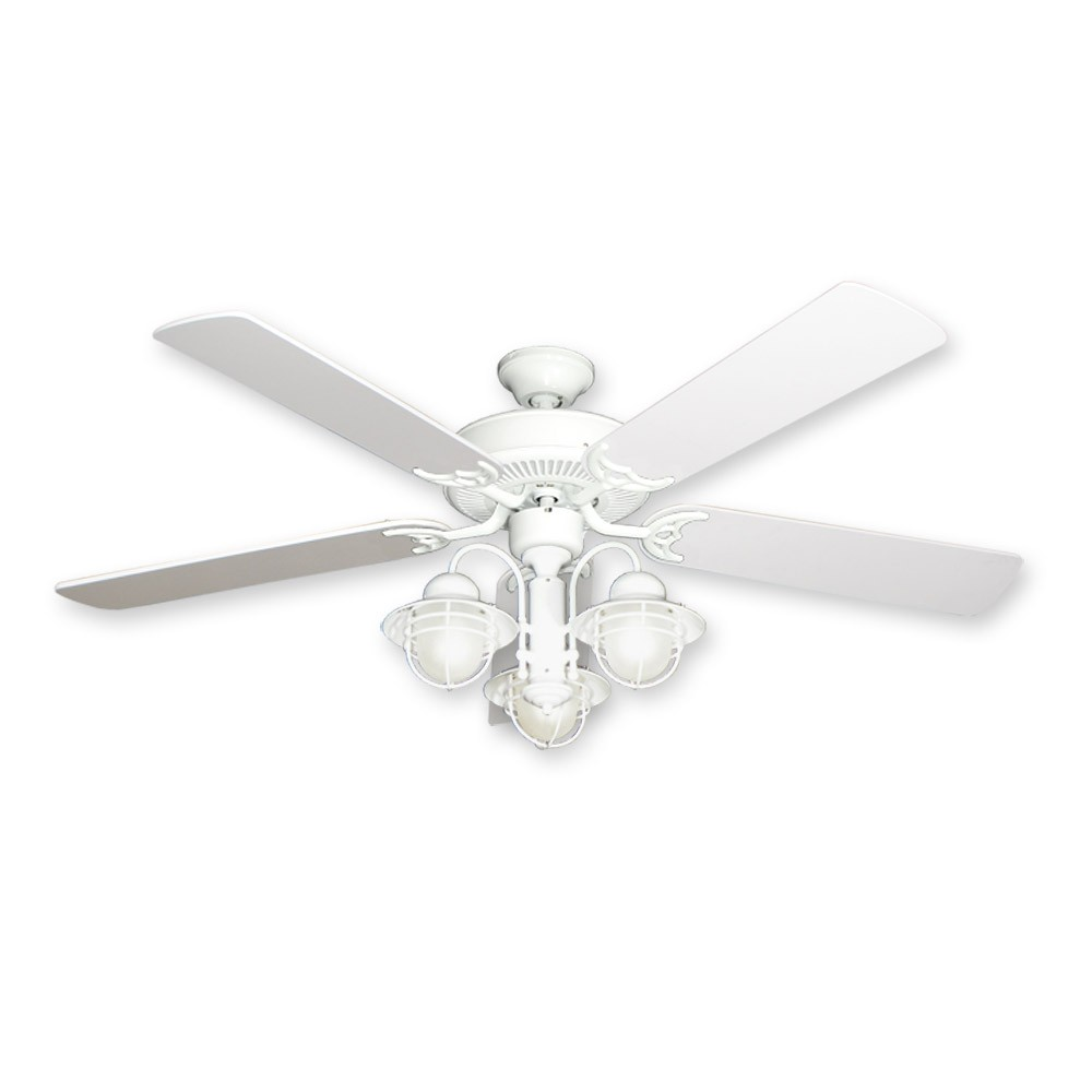 52 Nautical Ceiling Fan With Light Pure White Finish Unique Designer Styling