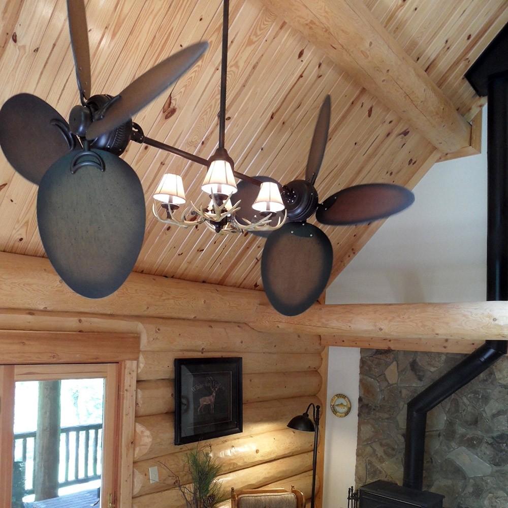 Rustic Twin Star Iii Dual Ceiling Fan Antler Lighting