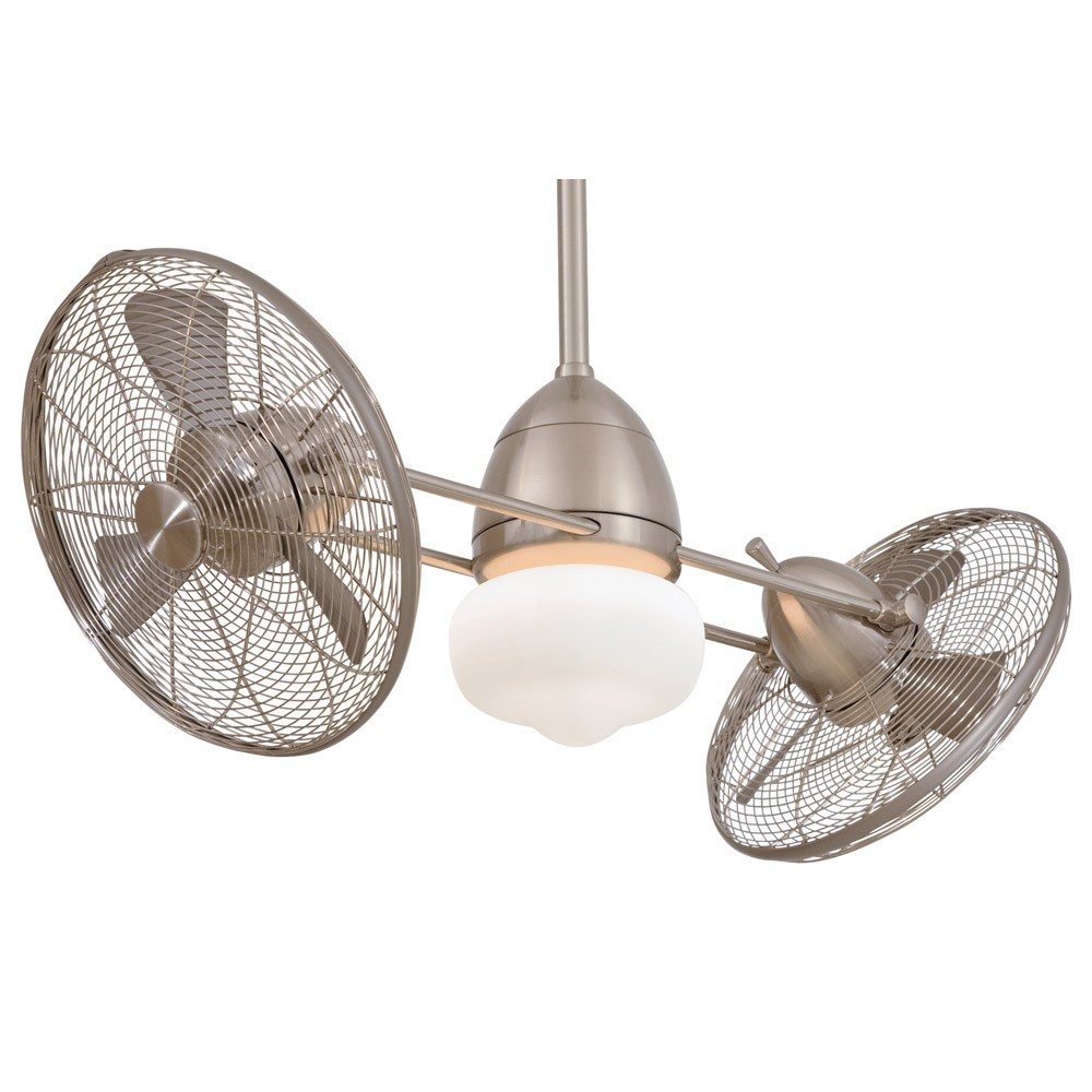 F402 BNW Gyro WET Brushed Nickel Outdoor Dual Ceiling Fan