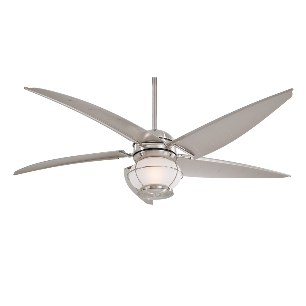 Minka aire magellan f579 l bnw 60 outdoor ceiling fan with light magellan brushed nickel by minka aire aloadofball