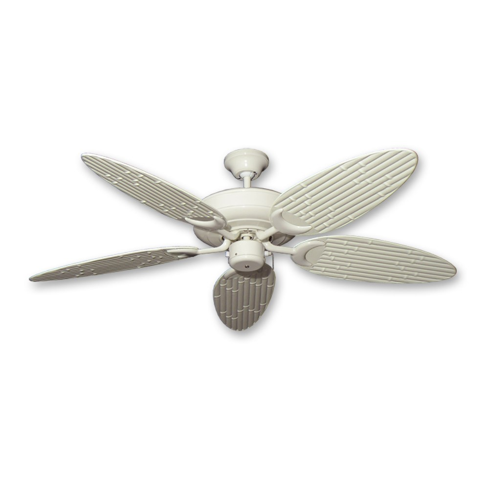 Outdoor Bamboo Ceiling Fan Antique White Finish