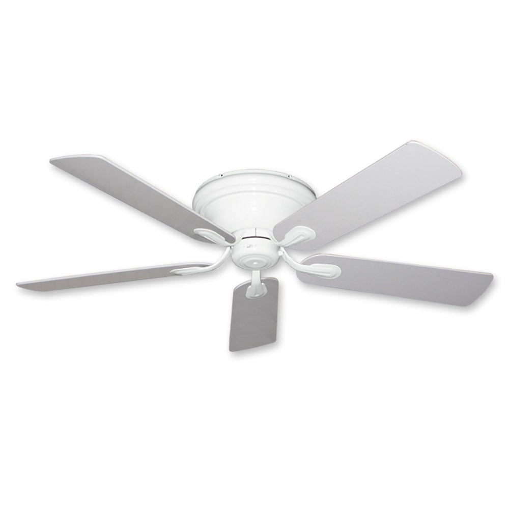 Flush Mount Ceiling Fan 52 Inch Stratus In Pure White Finish