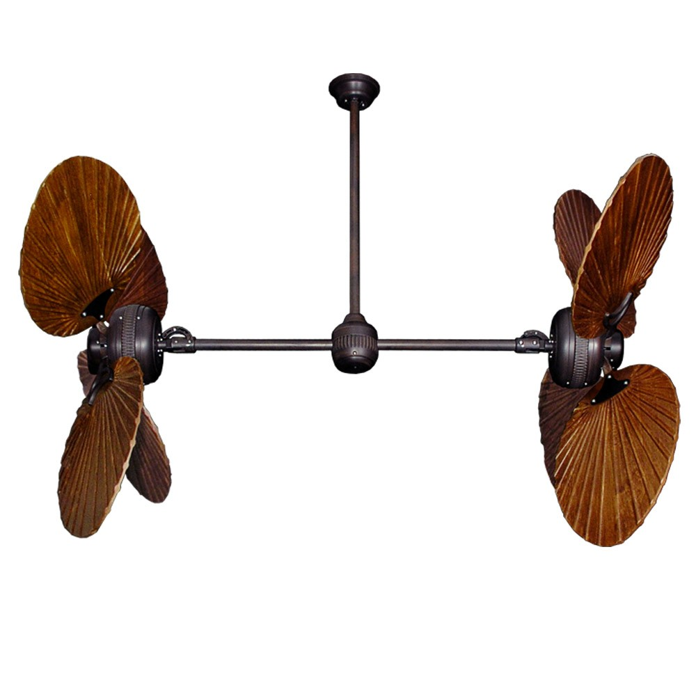 twin star ii dual motor ceiling fan with solid wood carved