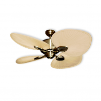 "48"" Gulf Coast Palm Breeze II Ceiling Fan - Antique Brass w/ Natural Palm Leaf Blades"