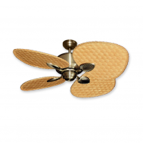 "48"" Gulf Coast Palm Breeze II Ceiling Fan - Antique Brass w/ Choice of 3 Woven Bamboo Blade Finishes"