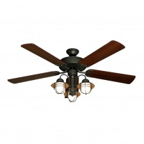 "52"" Beachfront Nautical Ceiling Fan - Oil Rubbed Bronze Fan Light Combo - Walnut Blades"