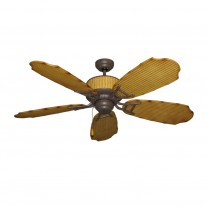 "52"" Cabana Breeze Bamboo Outdoor Ceiling Fan - Hawaiian Style w/ Cobblestone Accents"