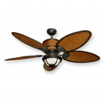 "Tropical Ceiling Fan w/ Light - 52"" Cane Isle w/ Real Rattan Housing & Blades"