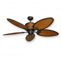 "Rattan Ceiling Fan - 52"" Cane Isle - Tropical / Safari Designer Styling"